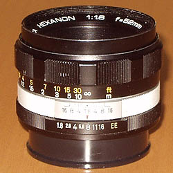 Konica Hexanon 52 mm / 1:1.8 early version with chrome ring